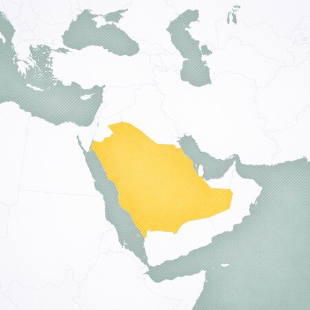 Saudi Arabia on the map of Middle East (Western Asia) with softly striped vintage background.