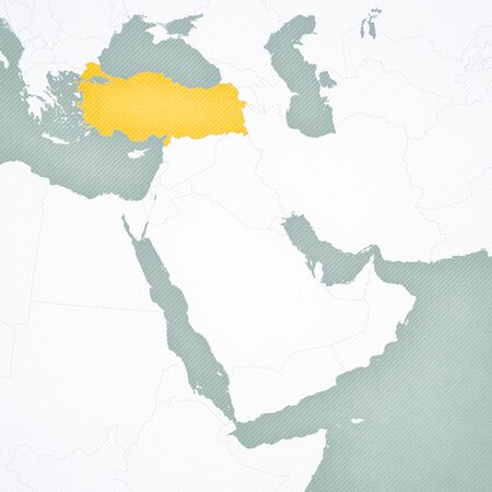 Turkey on the map of Middle East (Western Asia) with softly striped vintage background. Stock Photo