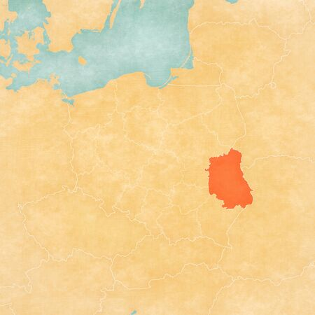 Lublin on the map of Poland in soft grunge and vintage style, like old paper with watercolor painting.