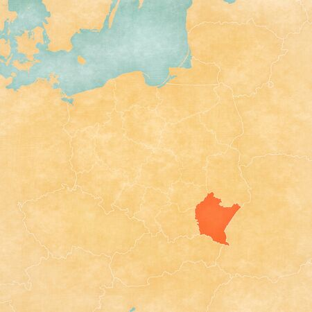 Subcarpathia on the map of Poland in soft grunge and vintage style, like old paper with watercolor painting.