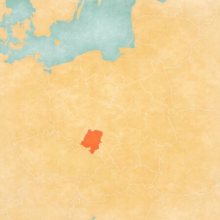 Opole on the map of Poland in soft grunge and vintage style, like old paper with watercolor painting. Banco de Imagens