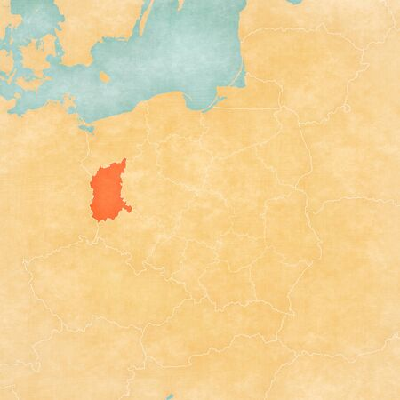 Lubusz on the map of Poland in soft grunge and vintage style, like old paper with watercolor painting. Banco de Imagens
