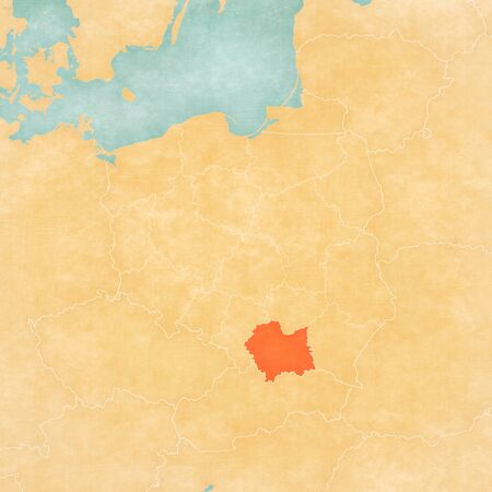 Lesser Poland on the map of Poland in soft grunge and vintage style, like old paper with watercolor painting.