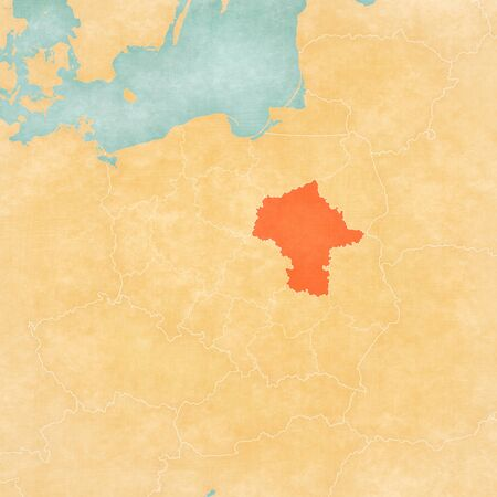 Masovia on the map of Poland in soft grunge and vintage style, like old paper with watercolor painting.