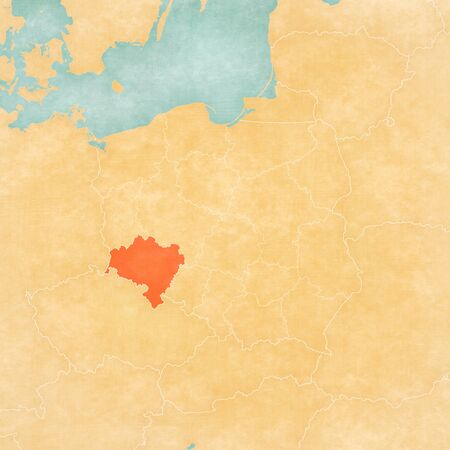 Lower Silesia on the map of Poland in soft grunge and vintage style, like old paper with watercolor painting. Banco de Imagens