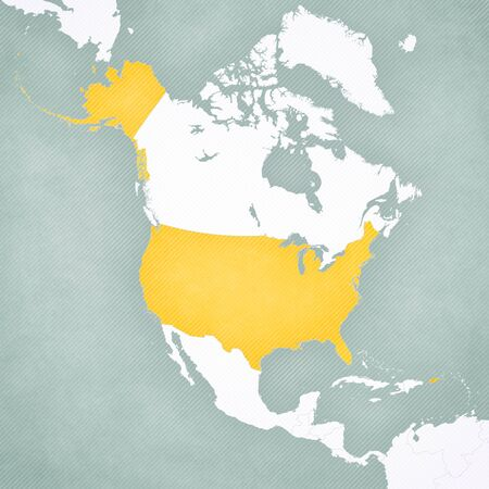 United States on the map of North America with softly striped vintage background. Foto de archivo