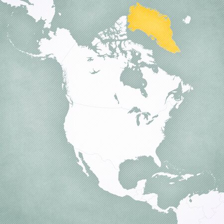 Greenland on the map of North America with softly striped vintage background.
