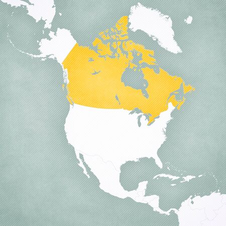 Canada on the map of North America with softly striped vintage background.