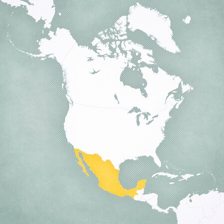Mexico on the map of North America with softly striped vintage background.
