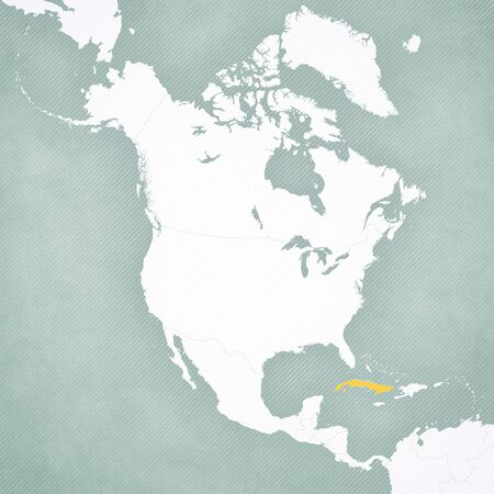 Cuba on the map of North America with softly striped vintage background.