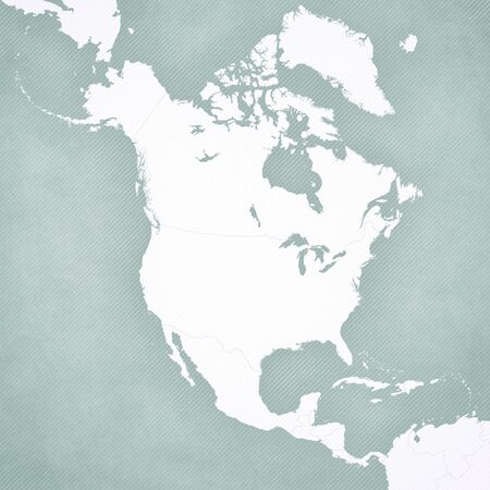 Blank map of North America with softly striped vintage background.