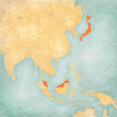 Japan and Malaysia on the map of East and Southeast Asia in soft grunge and vintage style, like old paper with watercolor painting. Banco de Imagens