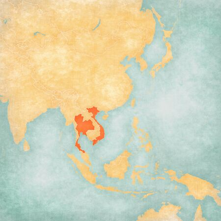 Thailand and Vietnam on the map of East and Southeast Asia in soft grunge and vintage style, like old paper with watercolor painting. Banco de Imagens