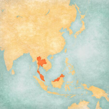 Thailand and Malaysia on the map of East and Southeast Asia in soft grunge and vintage style, like old paper with watercolor painting.