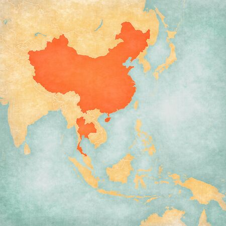 China and Thailand on the map of East and Southeast Asia in soft grunge and vintage style, like old paper with watercolor painting.