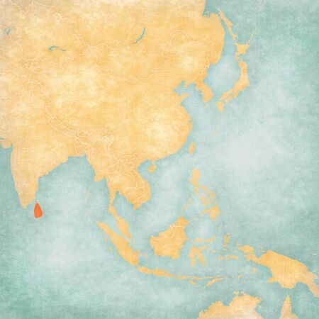 Sri Lanka on the map of East and Southeast Asia in soft grunge and vintage style, like old paper with watercolor painting.