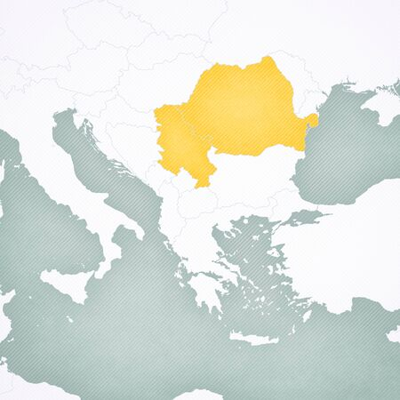 Romania and Serbia on the map of Balkans with softly striped vintage background.