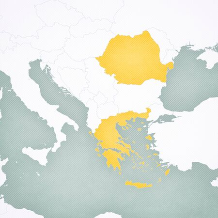 Greece and Romania on the map of Balkans with softly striped vintage background.