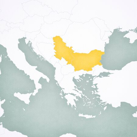 Bulgaria and Serbia on the map of Balkans with softly striped vintage background. Stock Photo