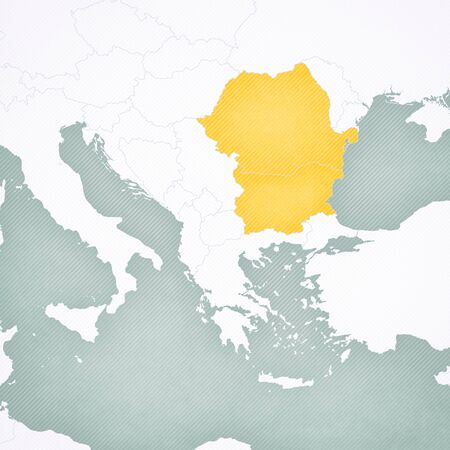 Romania and Bulgaria on the map of Balkans with softly striped vintage background.