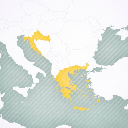 Greece and Croatia on the map of Balkans with softly striped vintage background.
