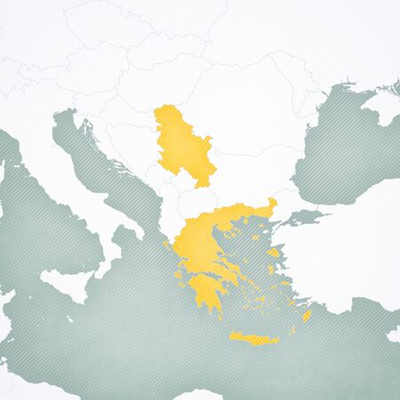 Greece and Serbia on the map of Balkans with softly striped vintage background.