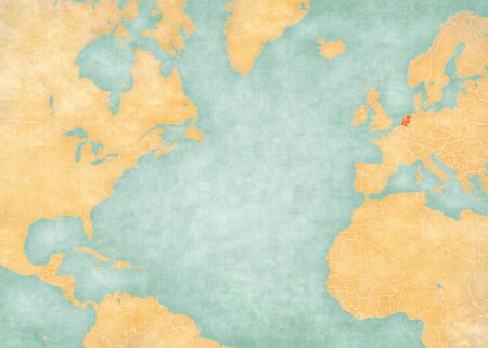 Netherlands on the map of North Atlantic Ocean in soft grunge and vintage style, like old paper with watercolor painting.