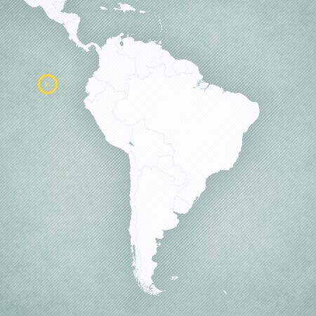 Galapagos Islands on the map of South America with softly striped vintage background. Stock Photo