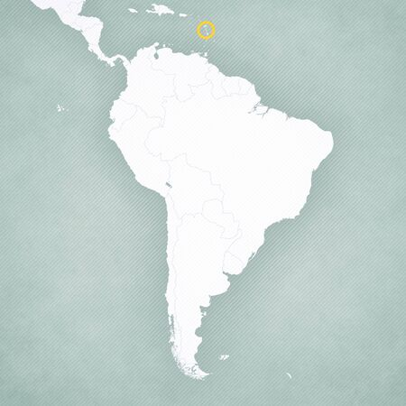 Dominica on the map of South America with softly striped vintage background. 版權商用圖片
