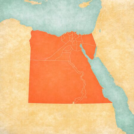 Map of Egypt with provincial borders in soft grunge and vintage style, like old paper with watercolor painting.