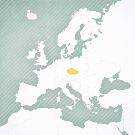 Czech Republic on the map of Europe with softly striped vintage background.