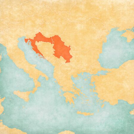 Croatia and Serbia on the map of Balkans in soft grunge and vintage style, like old paper with watercolor painting. Imagens