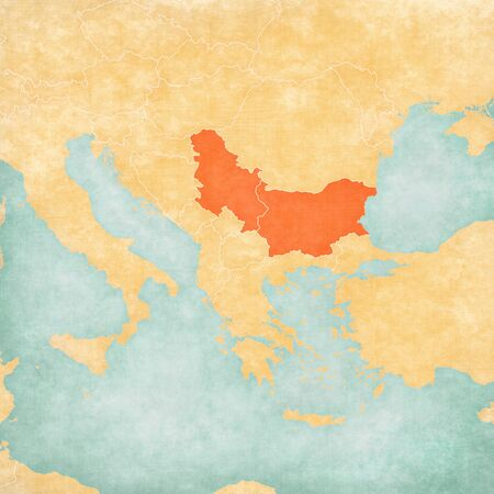 Bulgaria and Serbia on the map of Balkans in soft grunge and vintage style, like old paper with watercolor painting.