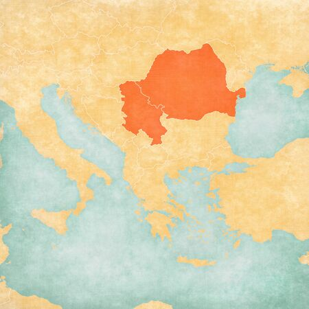 Romania and Serbiaon the map of Balkans in soft grunge and vintage style, like old paper with watercolor painting.