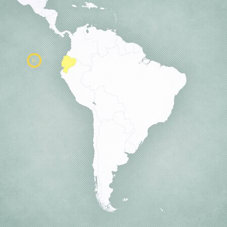 Galapagos Islands on the map of South America with softly striped vintage background.