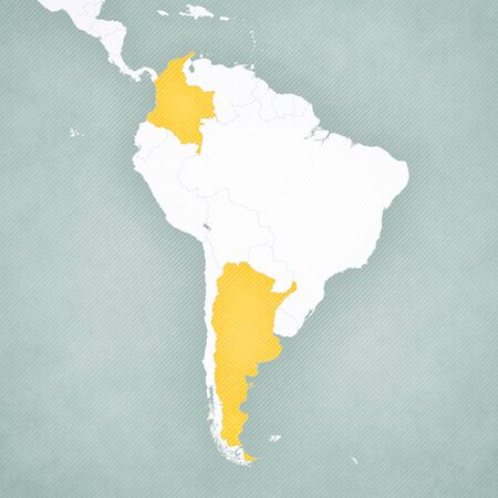 Colombia and Argentina on the map of South America with softly striped vintage background.