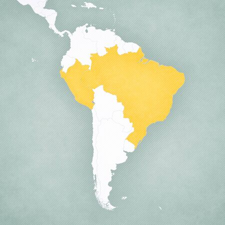 Brazil and Peru on the map of South America with softly striped vintage background.