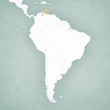 Curacao on the map of South America with softly striped vintage background.