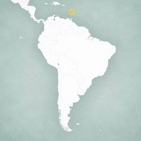 Martinique on the map of South America with softly striped vintage background.