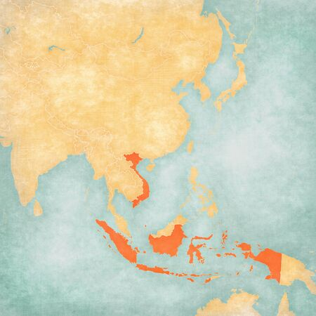 Indonesia and Vietnam on the map of East and Southeast Asia in soft grunge and vintage style, like old paper with watercolor painting.