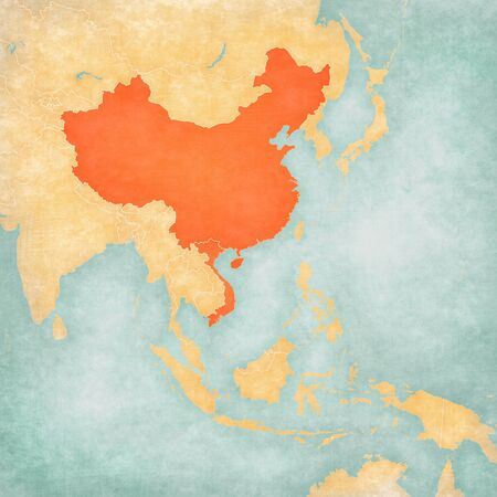 China and Vietnam on the map of East and Southeast Asia in soft grunge and vintage style, like old paper with watercolor painting.
