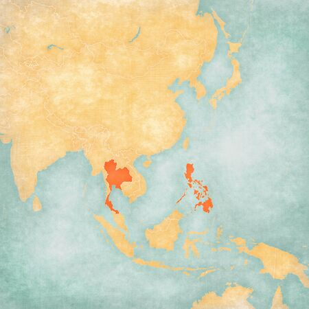 Thailand and Philippines on the map of East and Southeast Asia in soft grunge and vintage style, like old paper with watercolor painting.