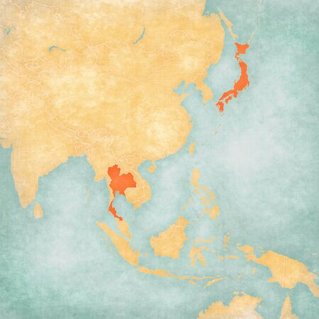 Thailand and Japan on the map of East and Southeast Asia in soft grunge and vintage style, like old paper with watercolor painting.