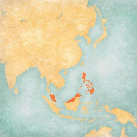 Malaysia and Philippines on the map of East and Southeast Asia in soft grunge and vintage style, like old paper with watercolor painting.