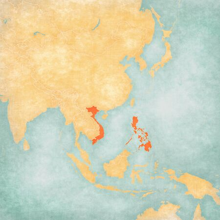 Vietnam and Philippines on the map of East and Southeast Asia in soft grunge and vintage style, like old paper with watercolor painting.