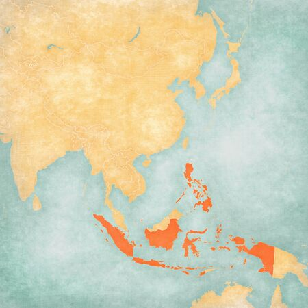 Indonesia and Philippines on the map of East and Southeast Asia in soft grunge and vintage style, like old paper with watercolor painting. Banco de Imagens