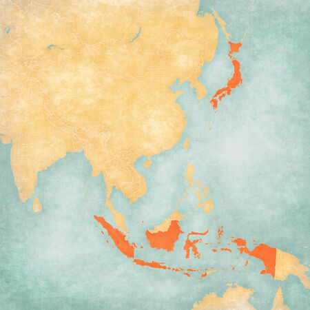 Indonesia and Japan on the map of East and Southeast Asia in soft grunge and vintage style, like old paper with watercolor painting. Banco de Imagens