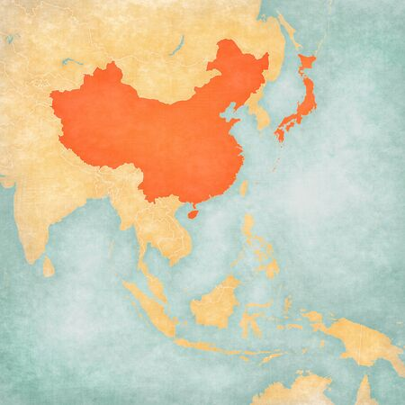 China and Japan on the map of East and Southeast Asia in soft grunge and vintage style, like old paper with watercolor painting.