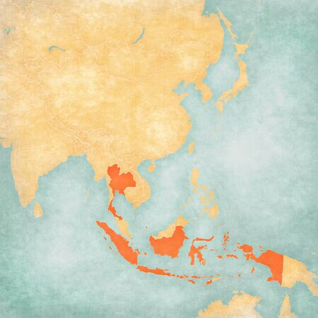 Indonesia and Thailand on the map of East and Southeast Asia in soft grunge and vintage style, like old paper with watercolor painting.