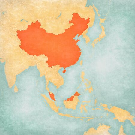 China and Malaysia on the map of East and Southeast Asia in soft grunge and vintage style, like old paper with watercolor painting. Banco de Imagens